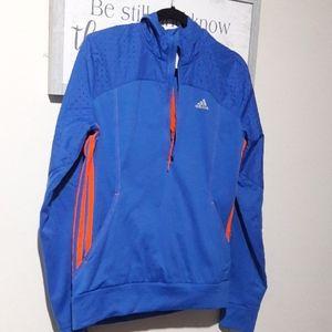 Adidas 1/4 Zip Hooded Running Jacket M Blue/Orange